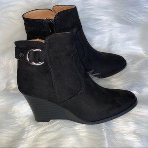 NEW Black suede booties w/cute side buckle